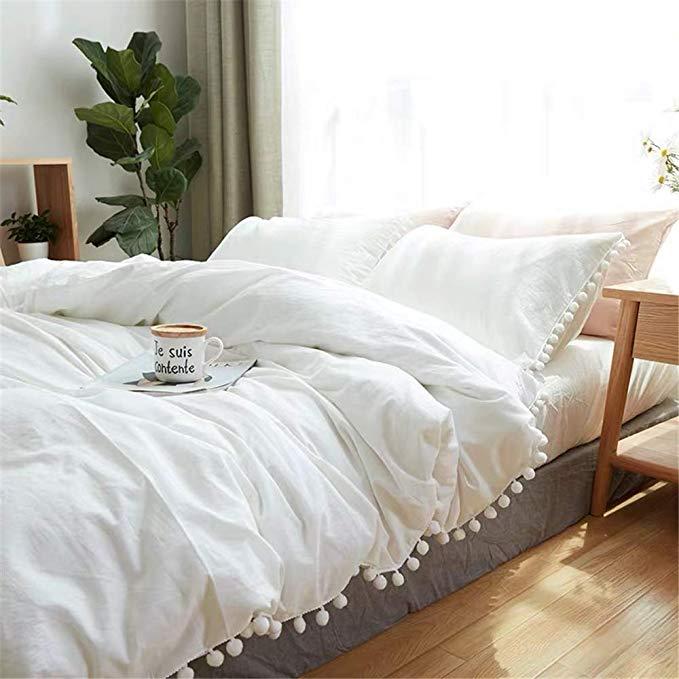Amazon Com Iasteria Pom Pom Duvet Cover Set Soft Lightweight Microfiber Luxury Farmhouse Bedding Set White Bed Covers Farmhouse Bedding Sets White Queen Bed White queen size duvet cover