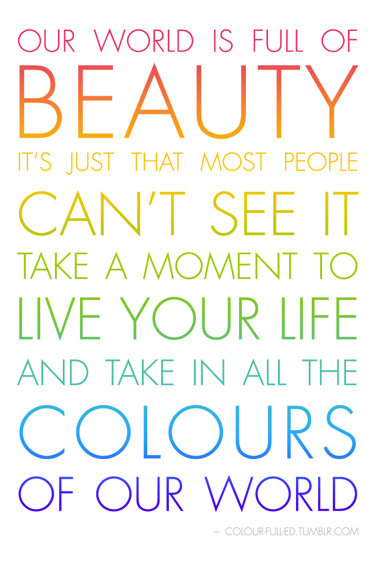 take in all the colours  Color quotes, Life quotes, Inspiring