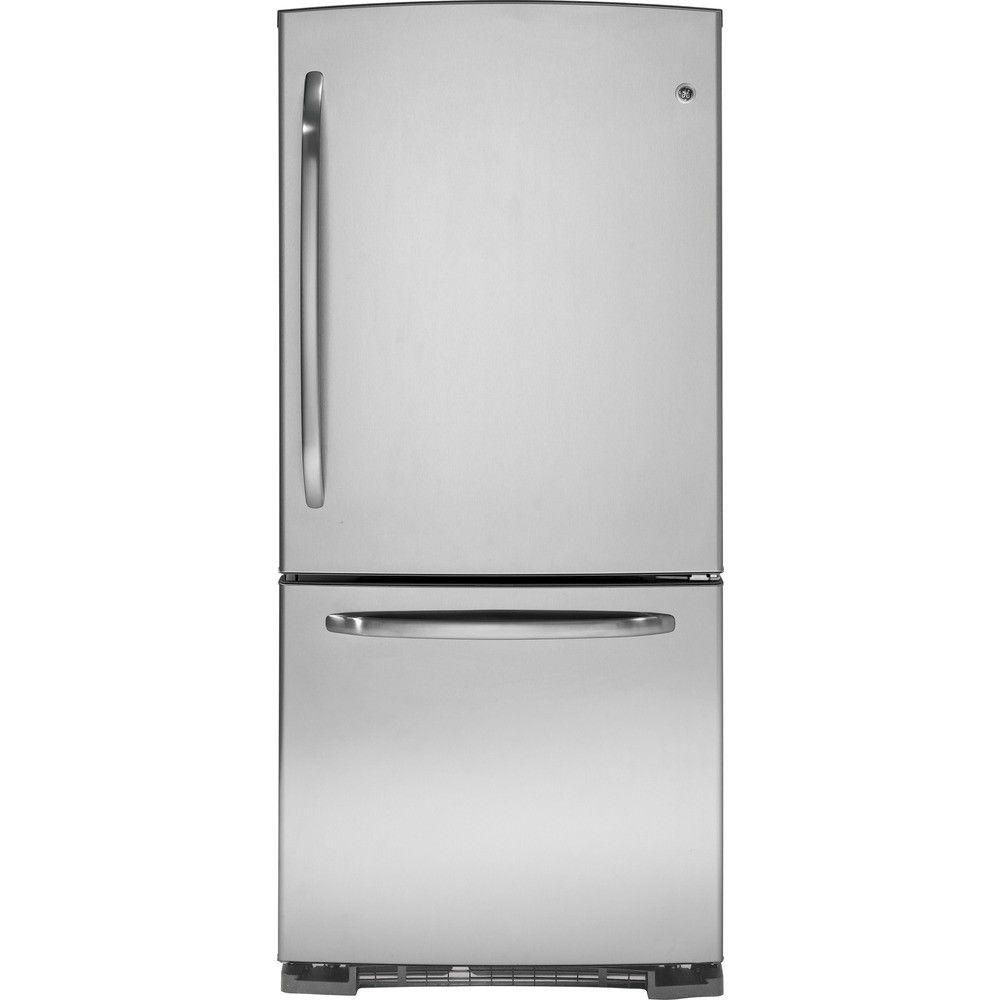 Ge 20 2 Cu Ft Bottom Freezer Refrigerator In Stainless Steel Gdss0kcxss The Home Depot Bottom Freezer Bottom Freezer Refrigerator Refrigerator