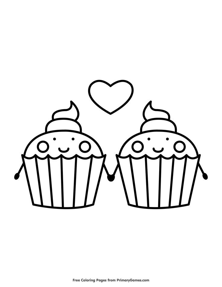 Cupcakes Holding Hands Coloring Page • FREE Printable