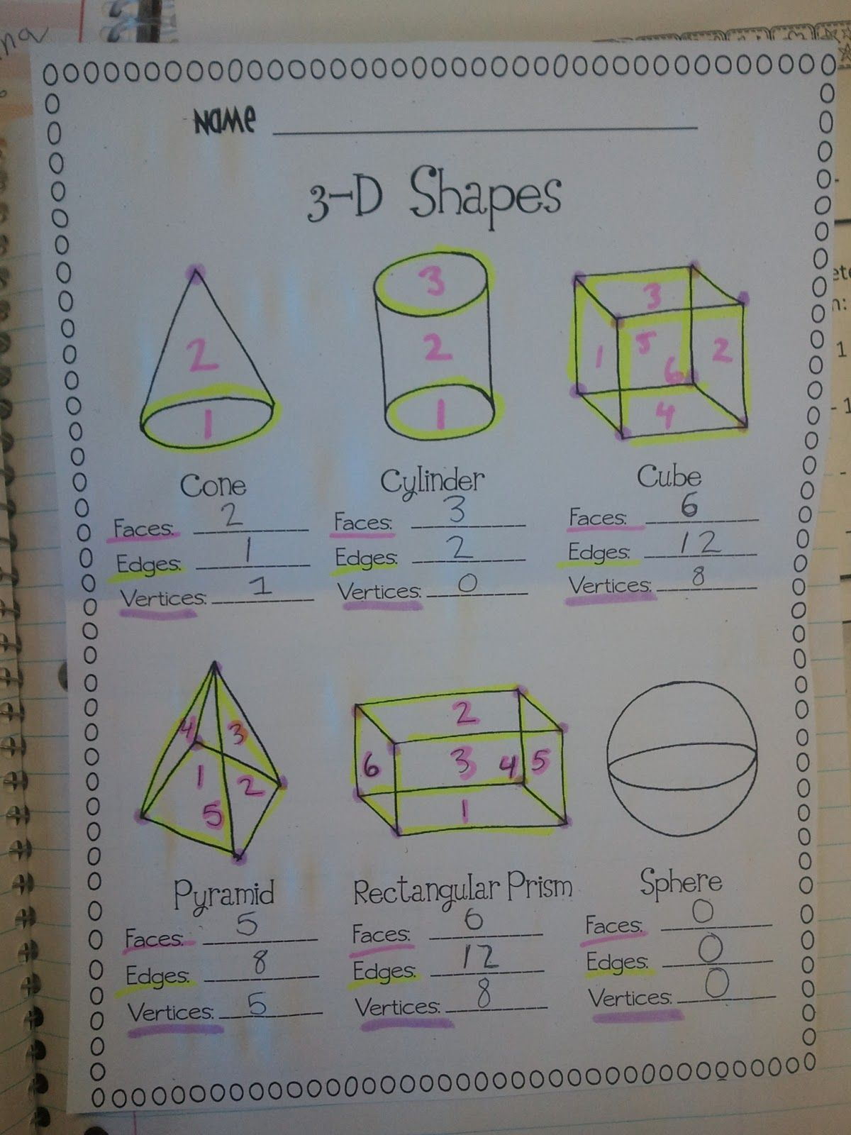Miss Third Grade: 3D Shapes- Vertices, Faces & Edges/ Simon Says ...