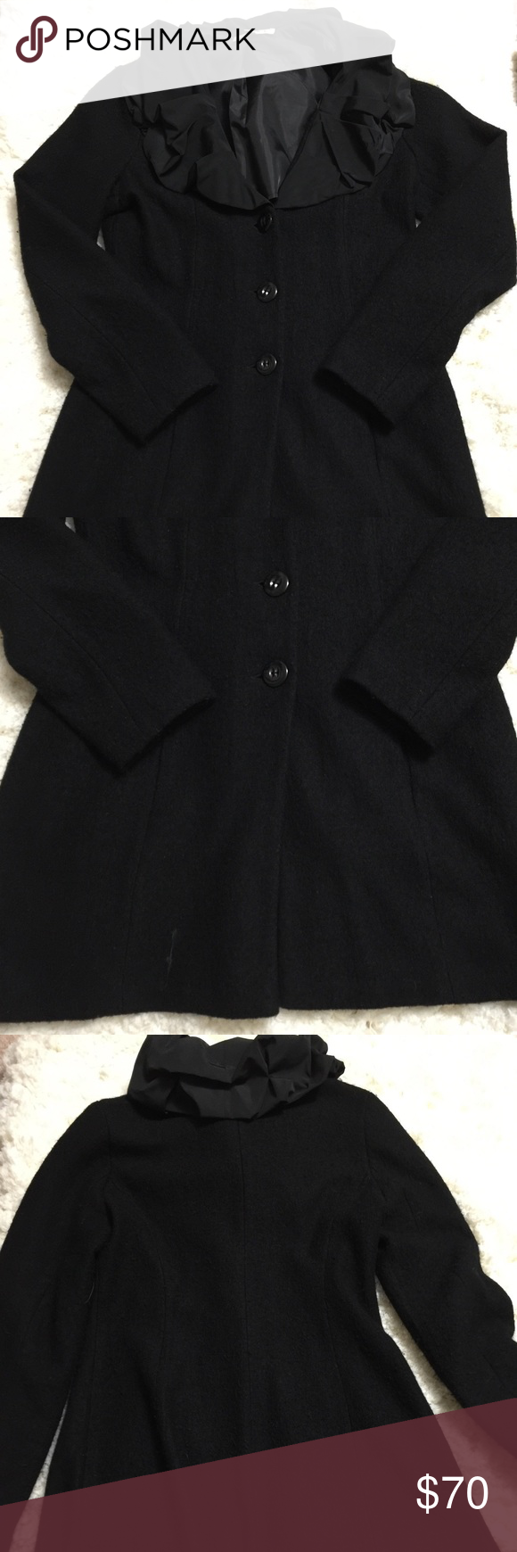 """Make a statement with this sweater jacket Lightweight wool sweater jacket. 100% wool with 100% polyester collar. Surprisingly soft for wool. Unlined. Falls to mid thigh (on me- 5'4"""". Tag is XS but fits VERY large. Better suited for S, maybe even M. There is some pilling but still in good condition. CAbi Sweaters Cowl & Turtlenecks"""