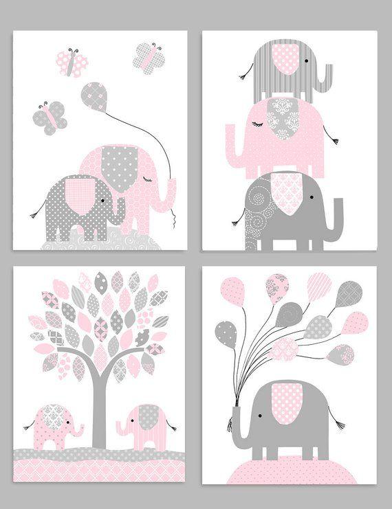 Elephant Nursery Decor Gray And Pink Girl Zoo Nursery Elephant