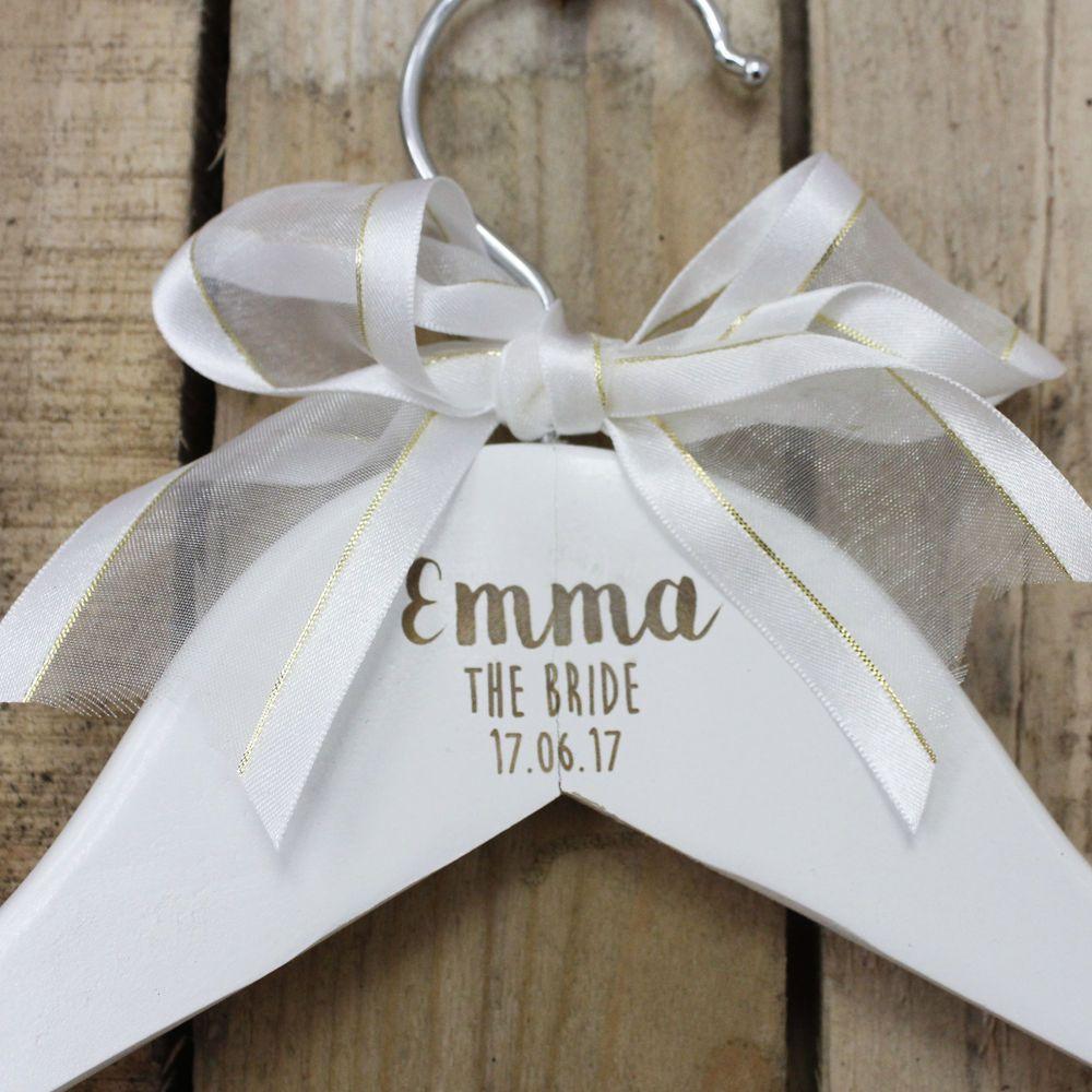Personalised Wooden Bridal Hangers, Custom Wedding Dress