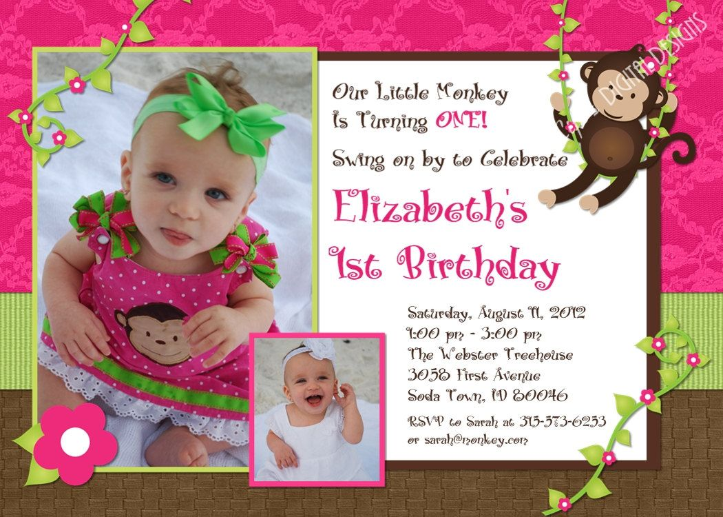 Monkey Birthday Invitations First Birthday Photo Invitation ...