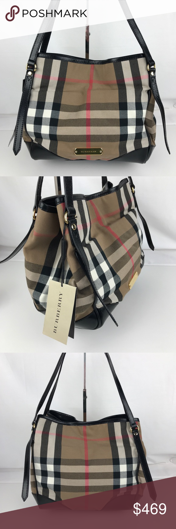 4e47e493e149 Burberry Bridle House Check Small Canterbury Tote NWT