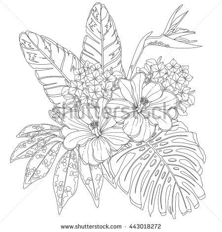Tropical flowers and leaves Page of coloring book for adults and