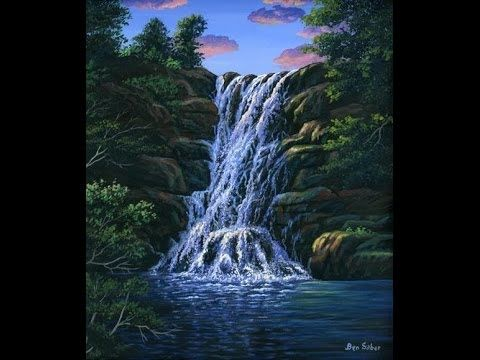 How To Paint Waterfall With Acrylic On Canvas Complete Painting Lesson Art Class Instructions Youtube Waterfall Paintings Waterfall Painting Lessons