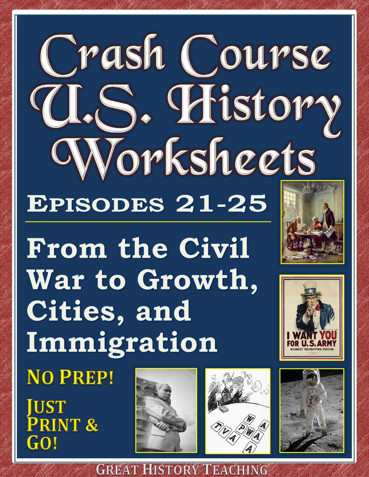 Crash Course U S History Worksheets Episodes 21 25