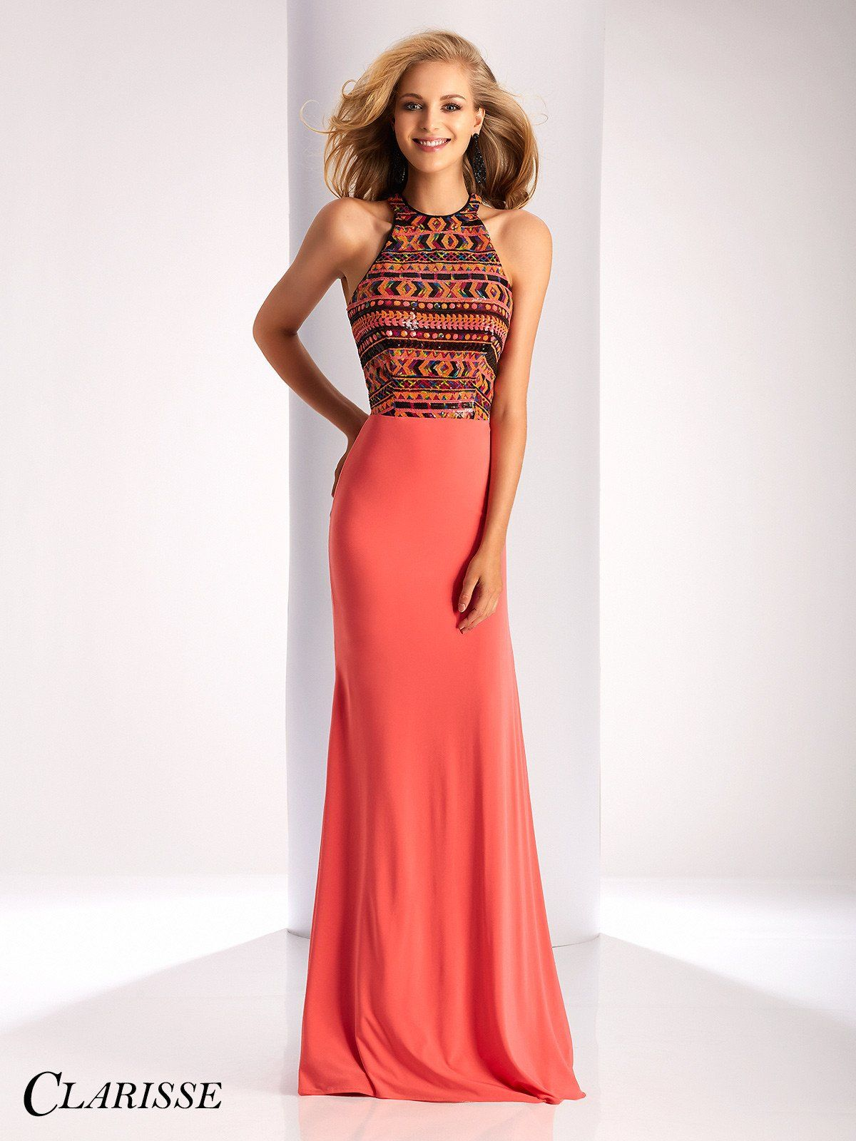 Clarisse prom coralmulti high neckline prom dress pinterest
