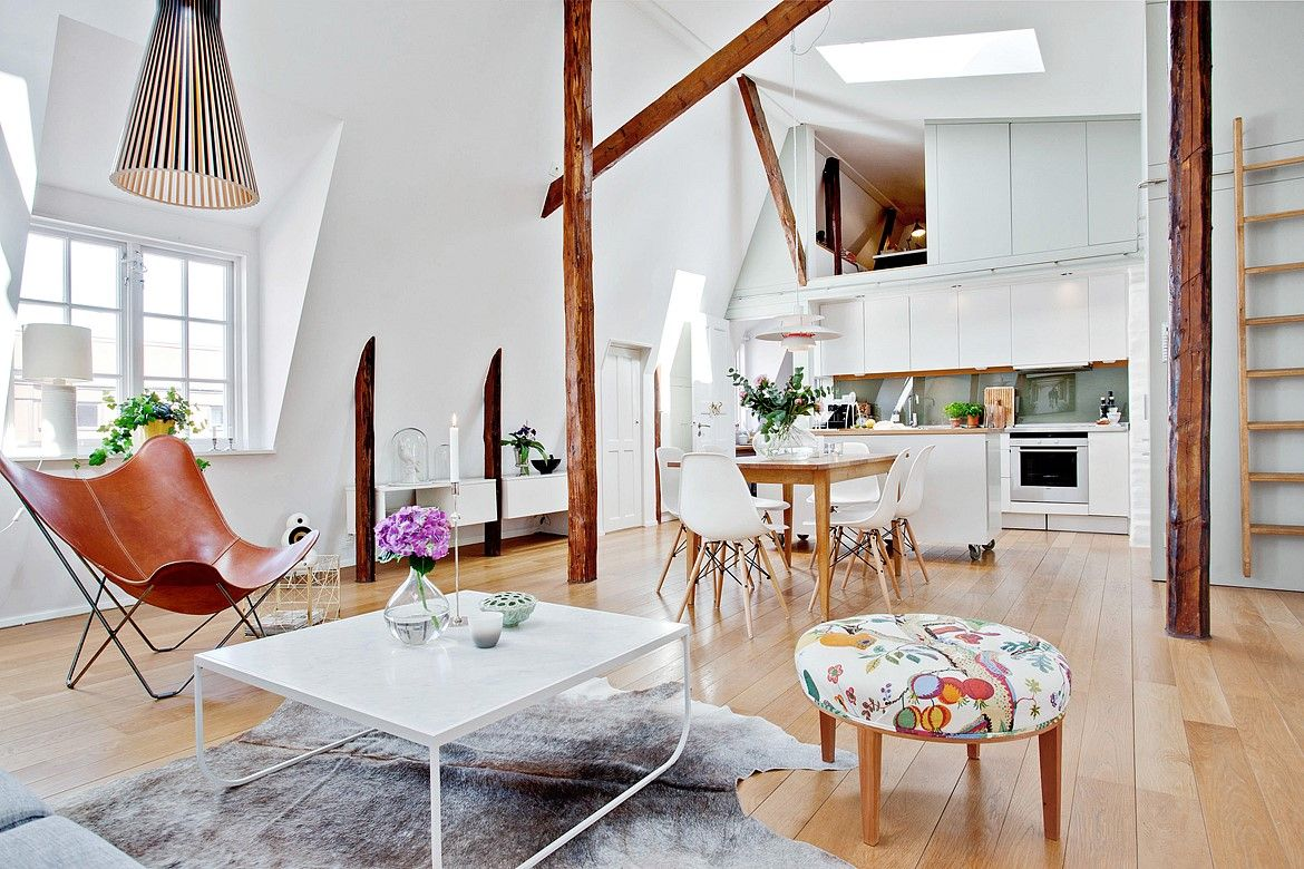 Loft with exposed beams