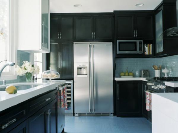 dark cabinets blue glass tile backsplash   Kitchen   Pinterest ...