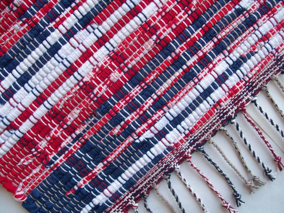 Red White And Blue Rug Cotton Rag Rug Loom Woven