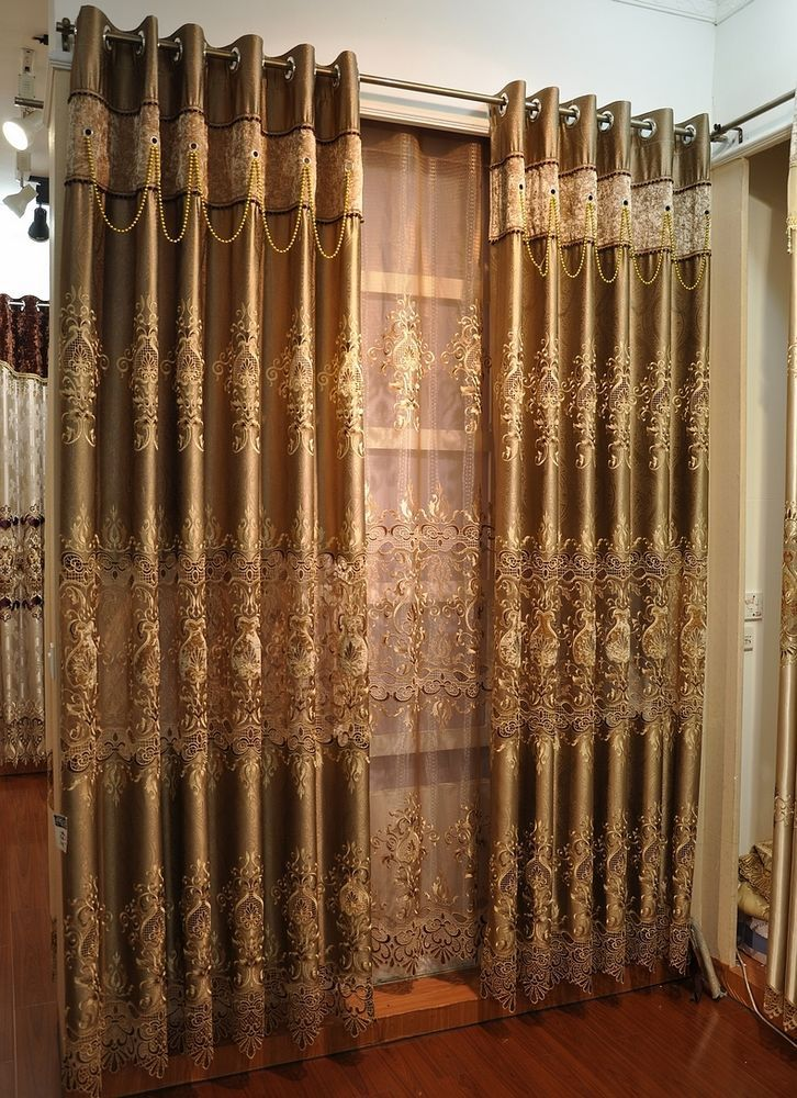 Brown Curtains Water Soluble Embroidered Curtains European High