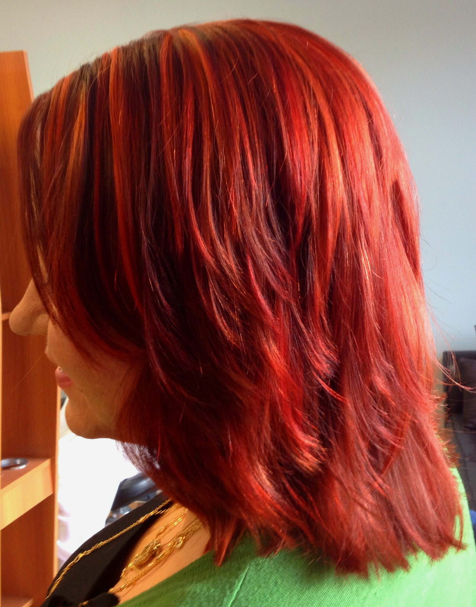 Rocket Fire Red Hair Color With Sangria Low Lights And Copper Penny