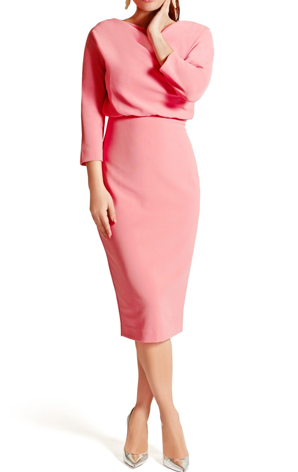 9d3c20141 Lauren Dress in Blush Pink | Salmon pink Pencil Skirt Cocktail Dress with  Elbow Length Sleeves by Badgley Mischka: Think of the cool effortless  elegance of ...