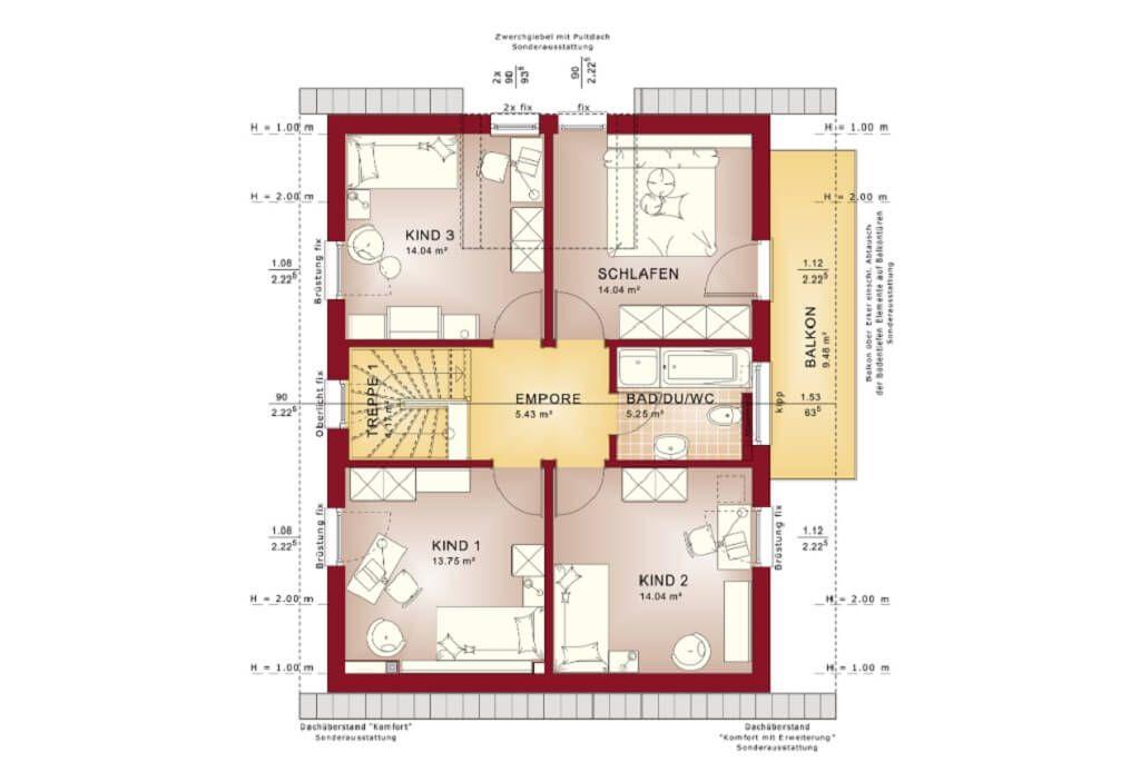 Grundriss EG Celebration 137 V6 von Bien Zenker Haus Ideen - küche mit kochinsel grundriss