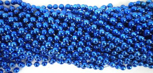 6 Dozen 72 necklaces 33 inch 07mm Round Metallic Royal Blue Mardi Gras Beads