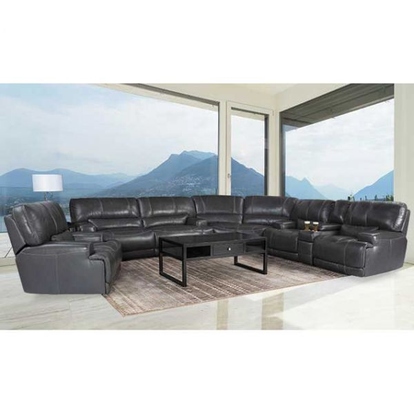 3pc Leather Power Recline Sectional Family Room