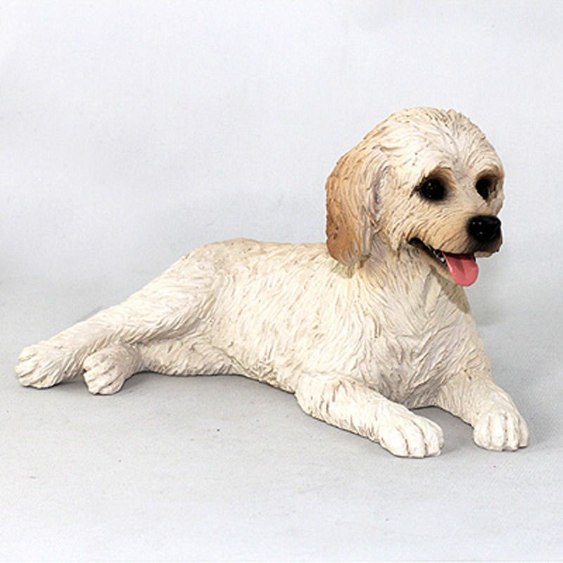 POODLE WHITE  DOG Figurine Statue Hand Painted Resin Gift Pet Lovers