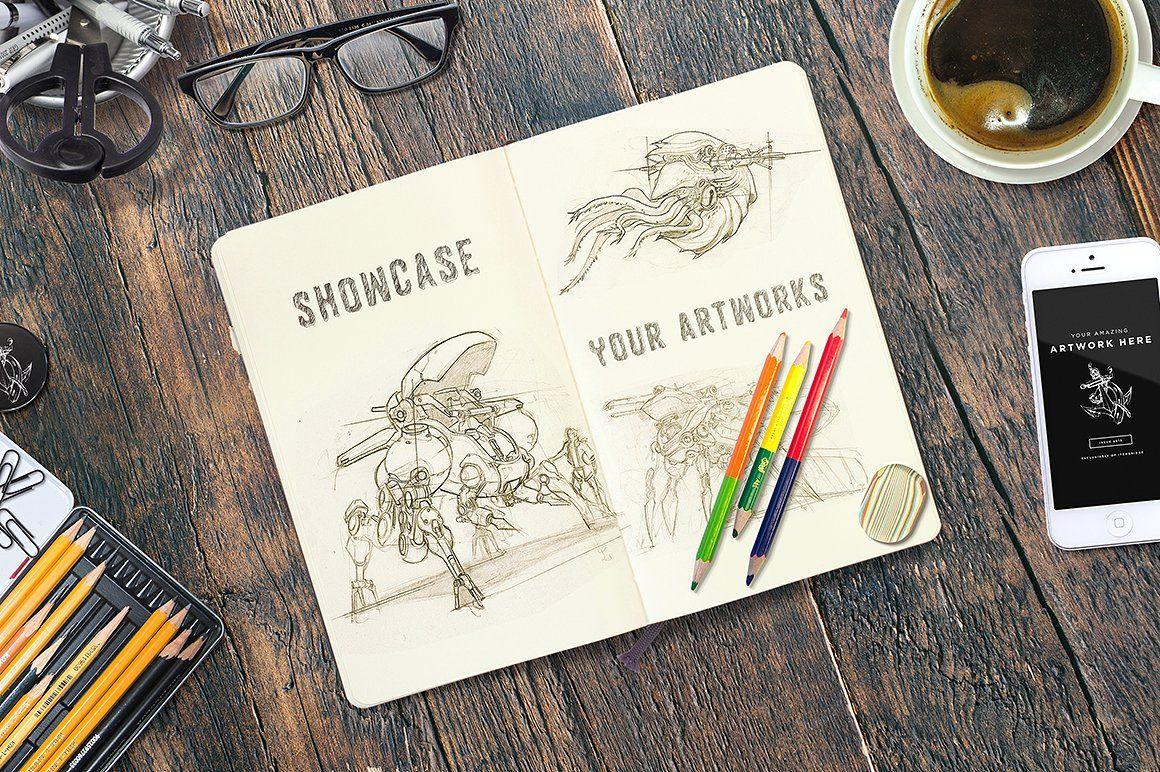 Sketchbook Sketch book, Mockup free psd, Free psd