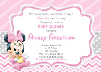 Baby Minnie Mouse Baby Shower Invitations Bows Minnie mouse baby