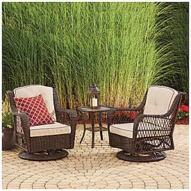 High Quality Wilson U0026 Fisher® Barcelona 3 Piece Resin Wicker Glider Chairs And Table Set  At