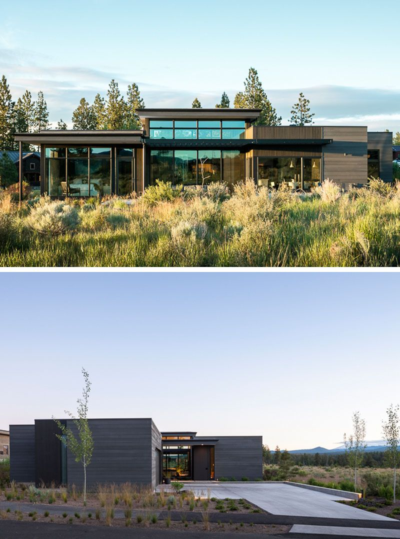 The exterior of this modern house has custom stained cedar siding that helps to blend the house in with the varied textures and subtle colors of the desert