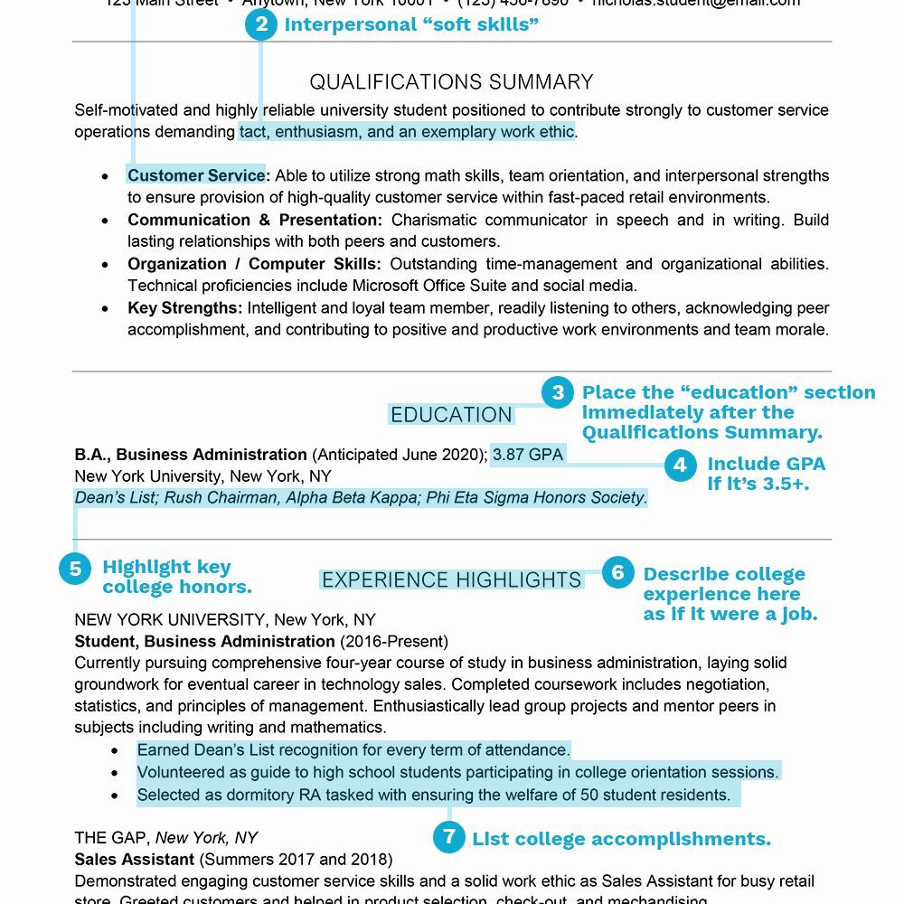 Resume Samples for College Student Awesome Student Resume
