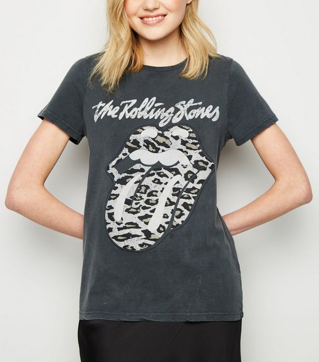 807864e54afcd1 Grey Rolling Stones Leopard Print Logo T-Shirt in 2019