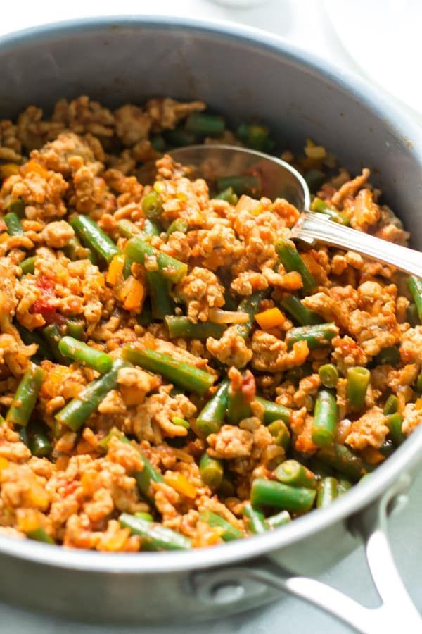 Photo of Ground turkey frying pan with green beans – low cal meals – #beans #cal #gru …