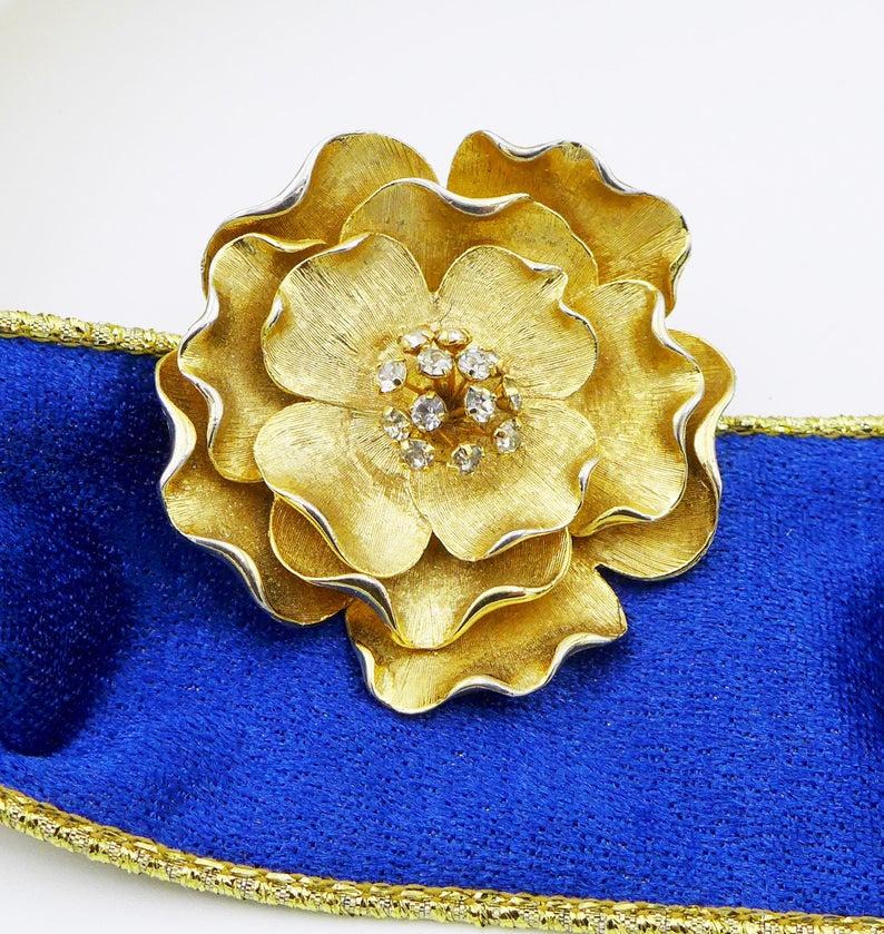 Brooch Earring SET huge BLUE FLOWER drop balls