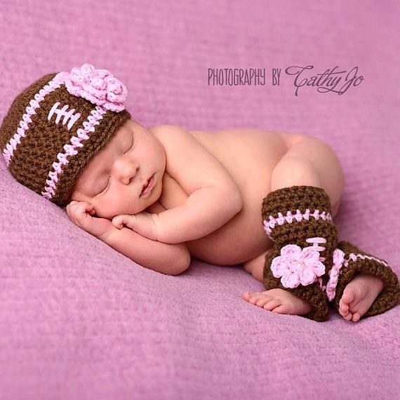 Baby girl football hat with leg warmers newborn or 0 3 month cute photography prop