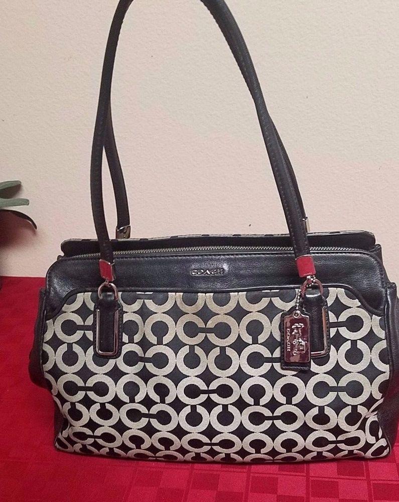 d01d3c2c622481 Signature Coach Madison Black Grey Op Art Kim Leather Handbag Satchel purse   358  fashion
