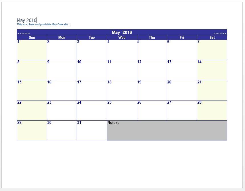 May 2016 Calendar Word - Printable Monthly Calendar Templates PDF