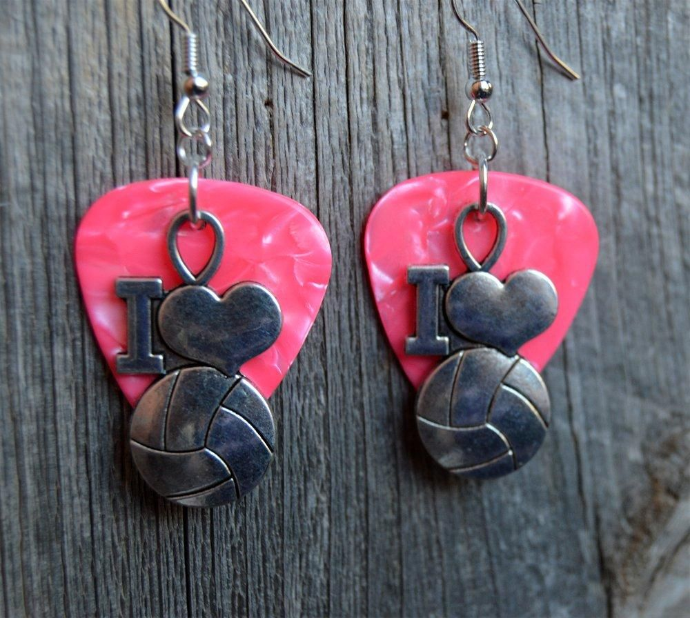 I Heart Volleyball Charm Guitar Pick Earrings - Pick Your Color ...