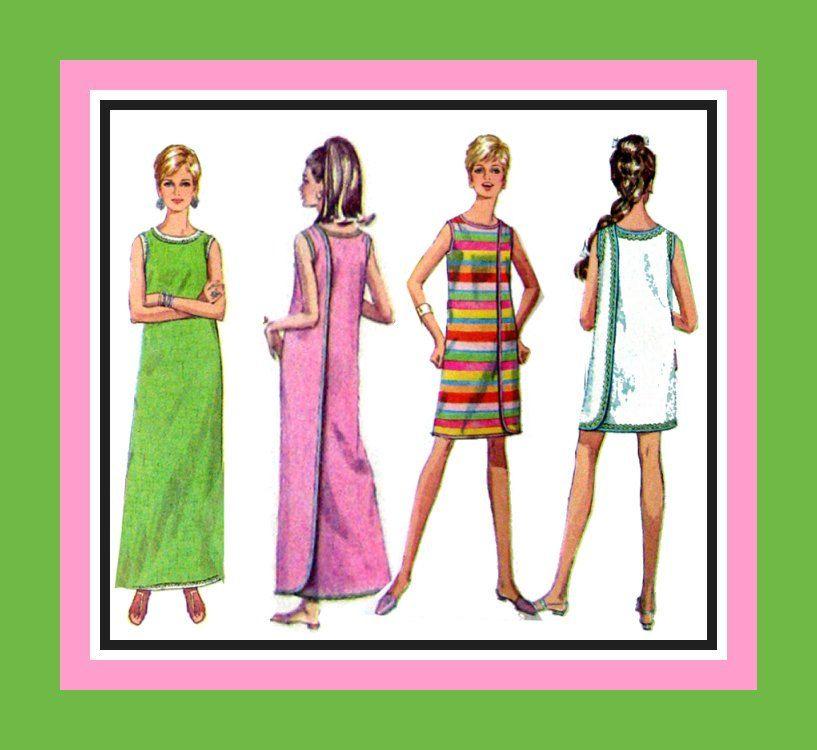 Vintage 1968 - MOD WRAP-AROUND Dress- Sewing Pattern-- Three Styles ...