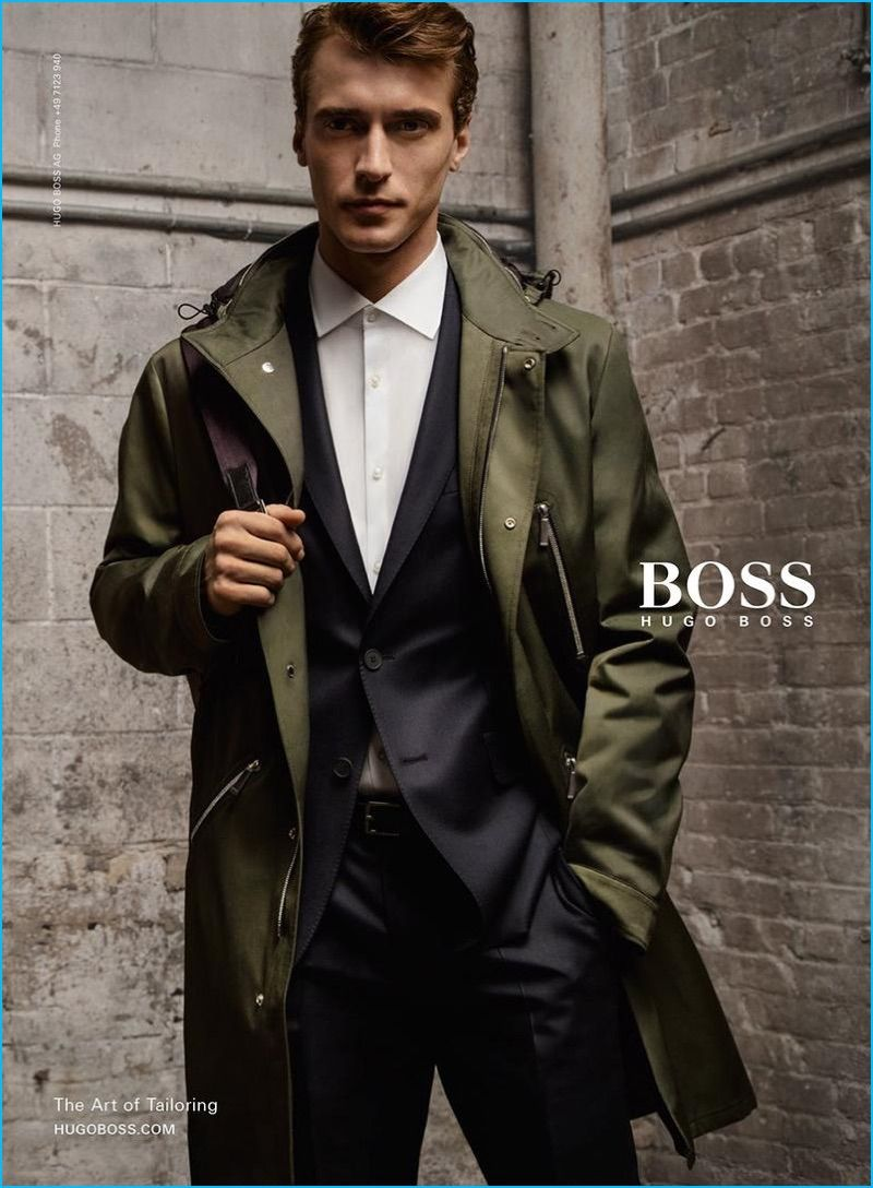 f5e88d8b9d53 Clément Chabernaud dons a sporty coat for BOSS Hugo Boss  fall-winter 2016  campaign.
