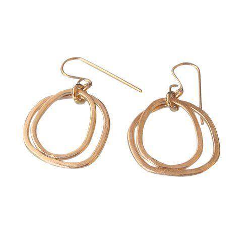 Gold Hoop Earrings Gold Plated in 18k gold Double Hoop by Mt