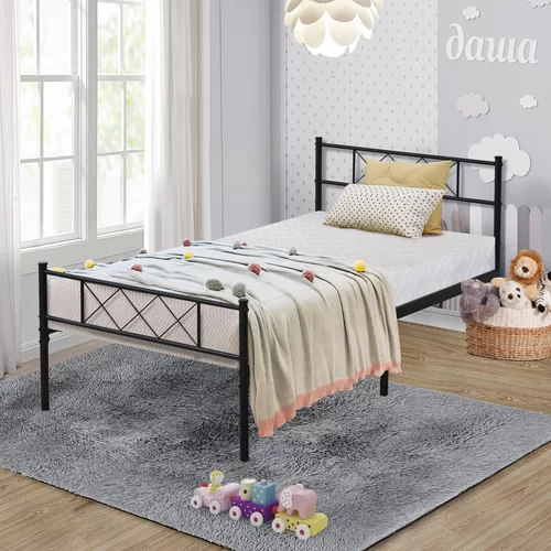 Cudahy Platform Bed Twin size metal bed frame, Headboard