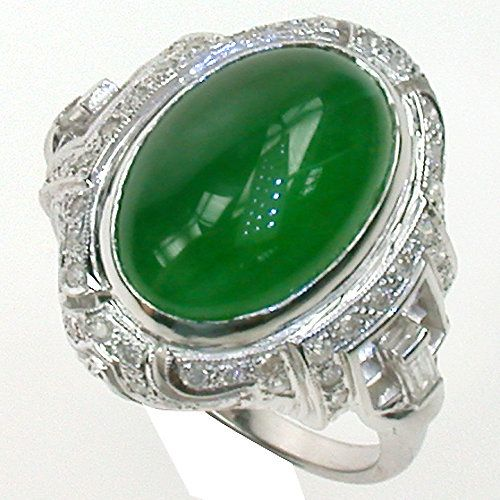 Myanmar Jadeite, Diamond in 18k WG