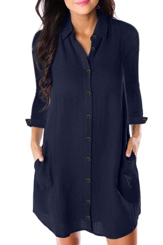 Navy Blue Long Sleeve Button Down Crepe Shirt Dress Shirt Dress Swing Tunic Dress Loose Mini Dress [ 1500 x 1001 Pixel ]
