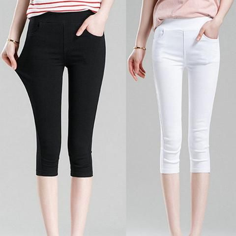 869dae5384f2 2018 Women s Summer Black Leggings Pants Slim Thin Stretch Trousers White  Casual Capris Pencil Pants Plus Size 4XL 5XL