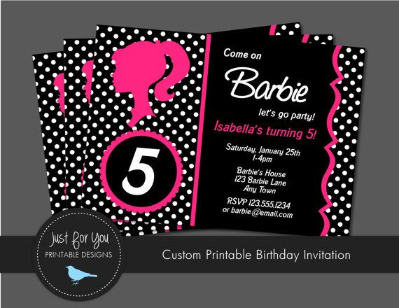 printable barbie invitation - vintage retro - polka dot or zebra, Birthday invitations