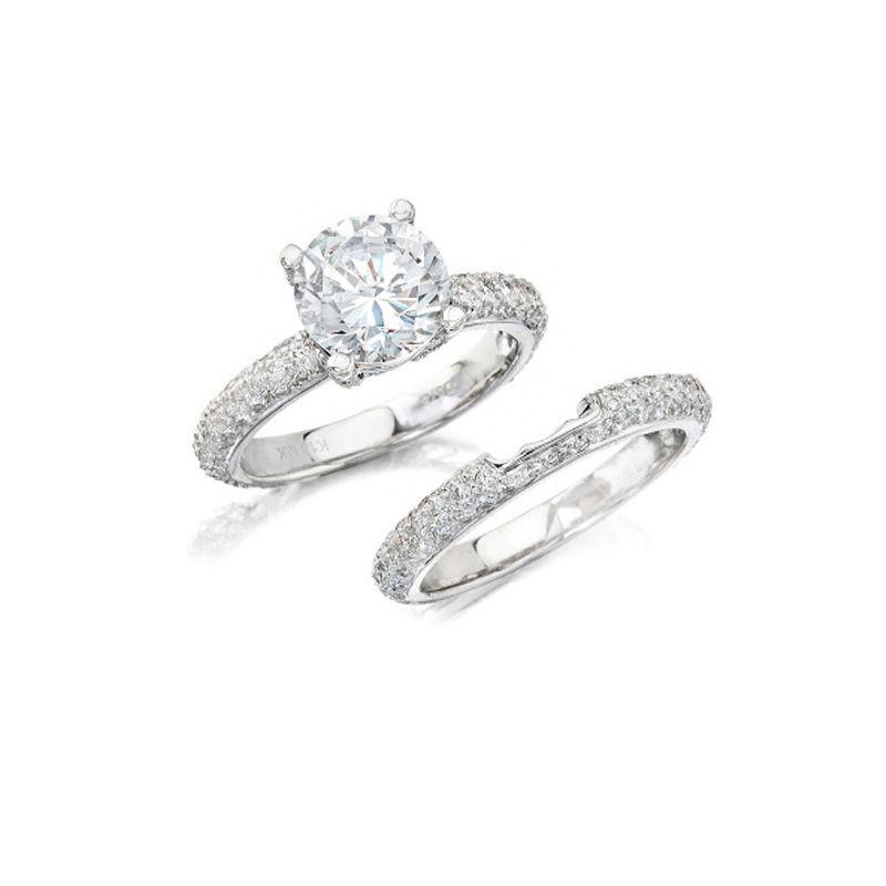Natalie K Diamond 14k White Gold Engagement Ring Setting And Wedding Band Set