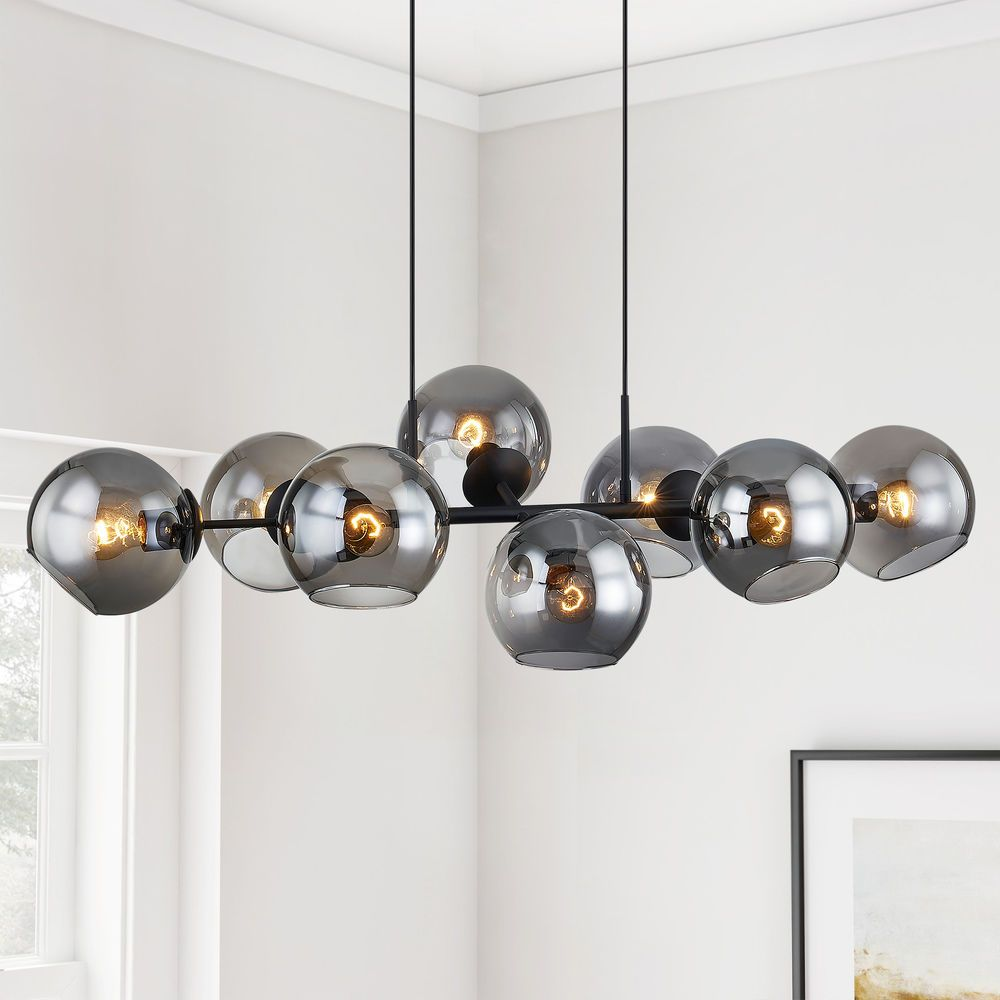 44 Inch Black Linear Chandelier With Smoke Glass Shades At Destination Lighting Modern Black Chandeliers Modern Light Fixtures Linear Chandelier