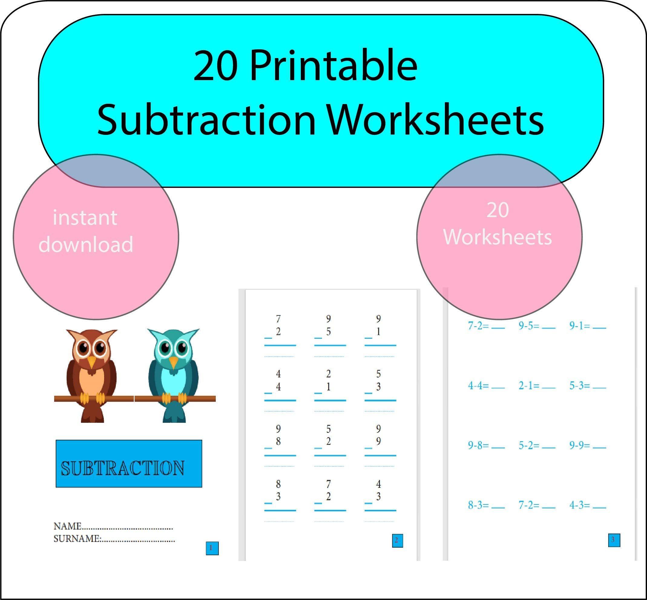 Math Subtraction Worksheets 1st Grade Math Activity Etsy Kindergarten Math Activities Math Subtraction Subtraction Worksheets [ 1984 x 2138 Pixel ]