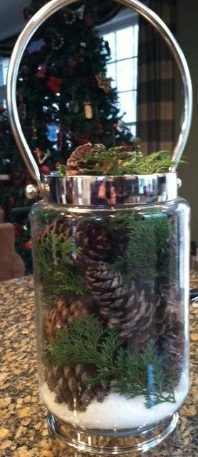 a thrift store jar, pinecones and evergreen from the backyard, and epsom salt - cute on the cheap!