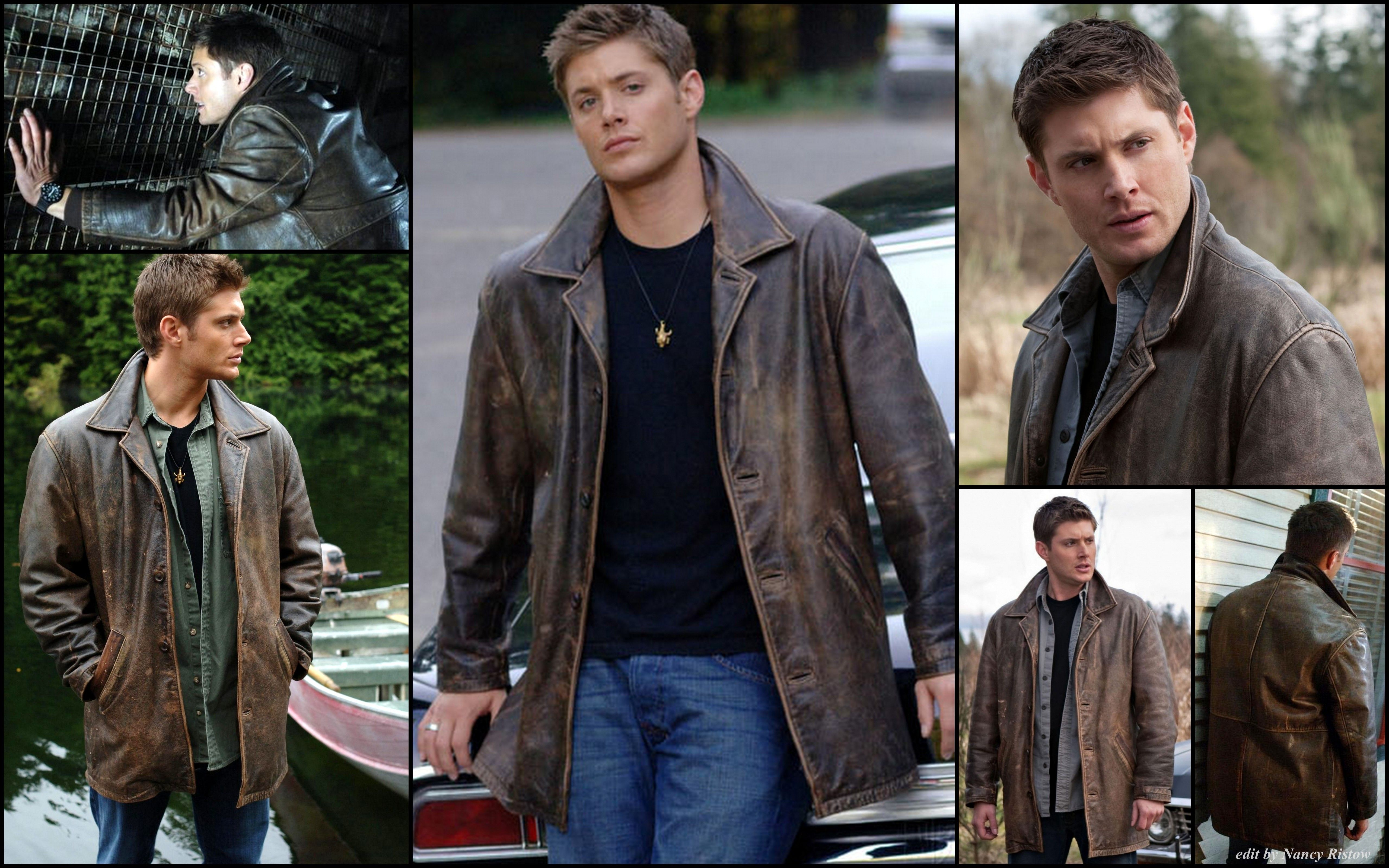 Dean Leather Jacket 1 0 3 Click For Larger Pic Edit By Nancy Rislow Leather Jacket Supernatural Leather Coat [ 3200 x 5120 Pixel ]