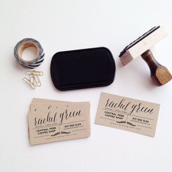 Laurel Business Card Stamp by stationeryboutique on Etsy